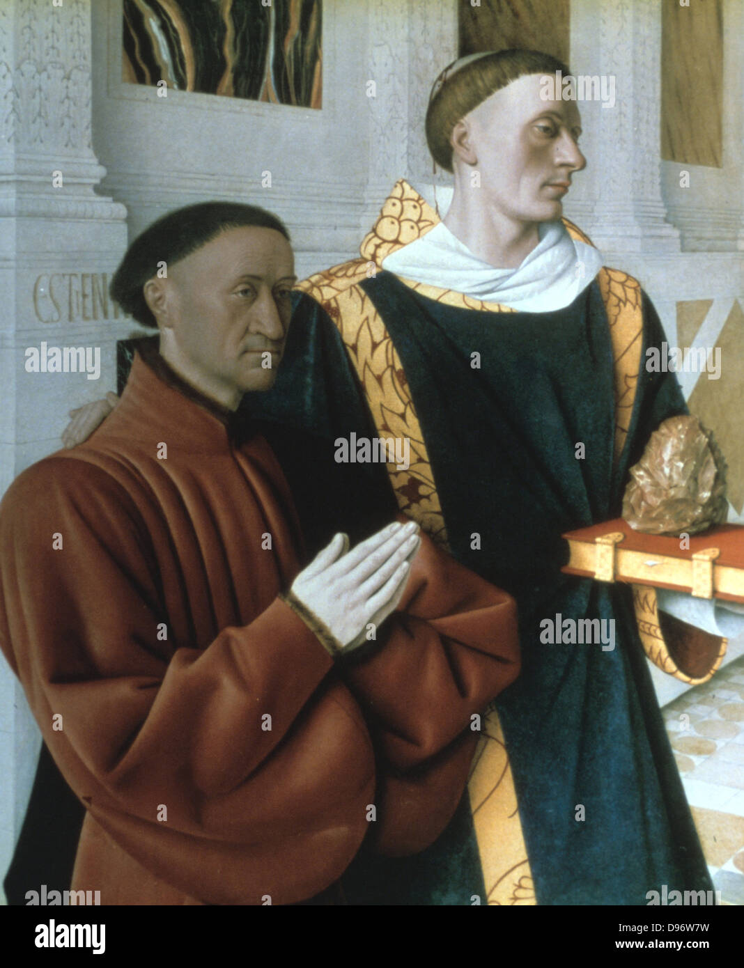 Etienne Chevalier and Saint Stephen' 1450: Jean Fouquet (1420-1481) French painter. - Stock Image