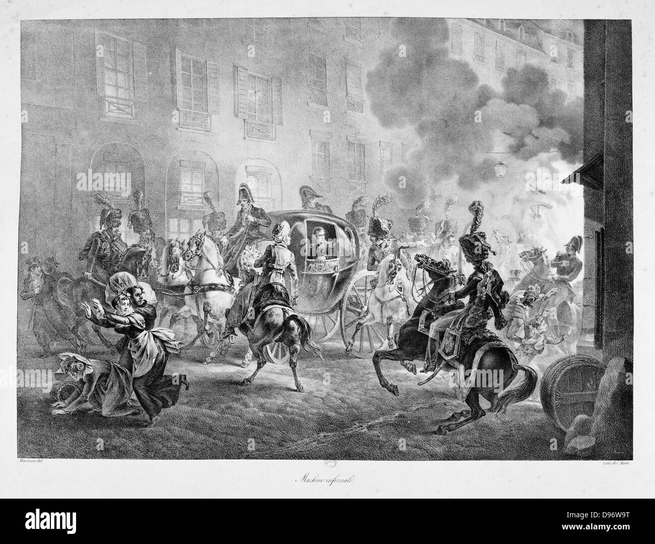 Attempt on the life of Napoleon Bonaparte, Paris, 24 December 1800. Napoleon in his coach passed unharmed but many - Stock Image
