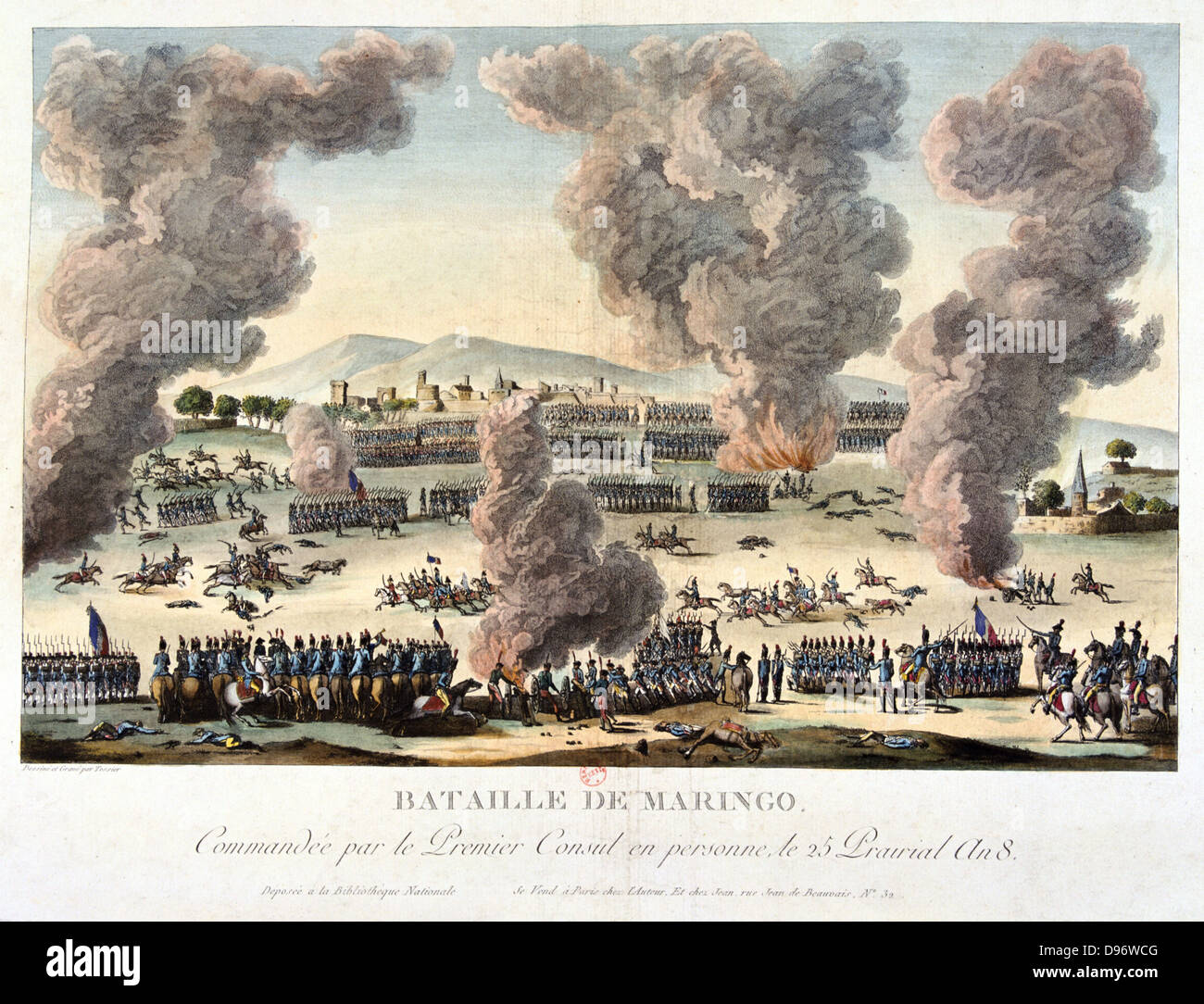 The Battle of Marengo, 14 June 1800. French forces under Napoleon defeated Austrians. Coloured lithograph. - Stock Image