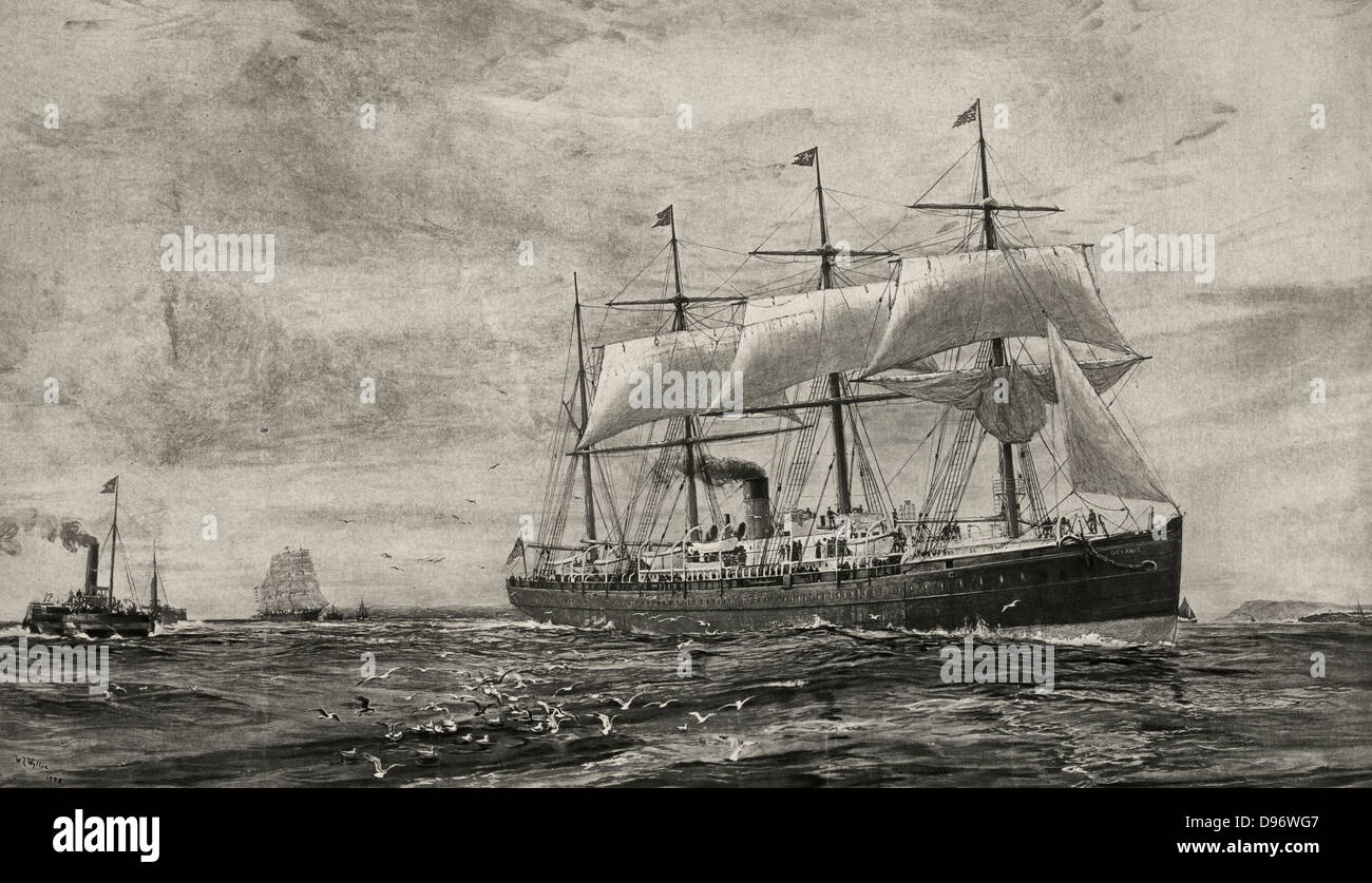 The screw steamship Oceanic - Pioneer steamer of the White Star Line, circa 1870 - Stock Image