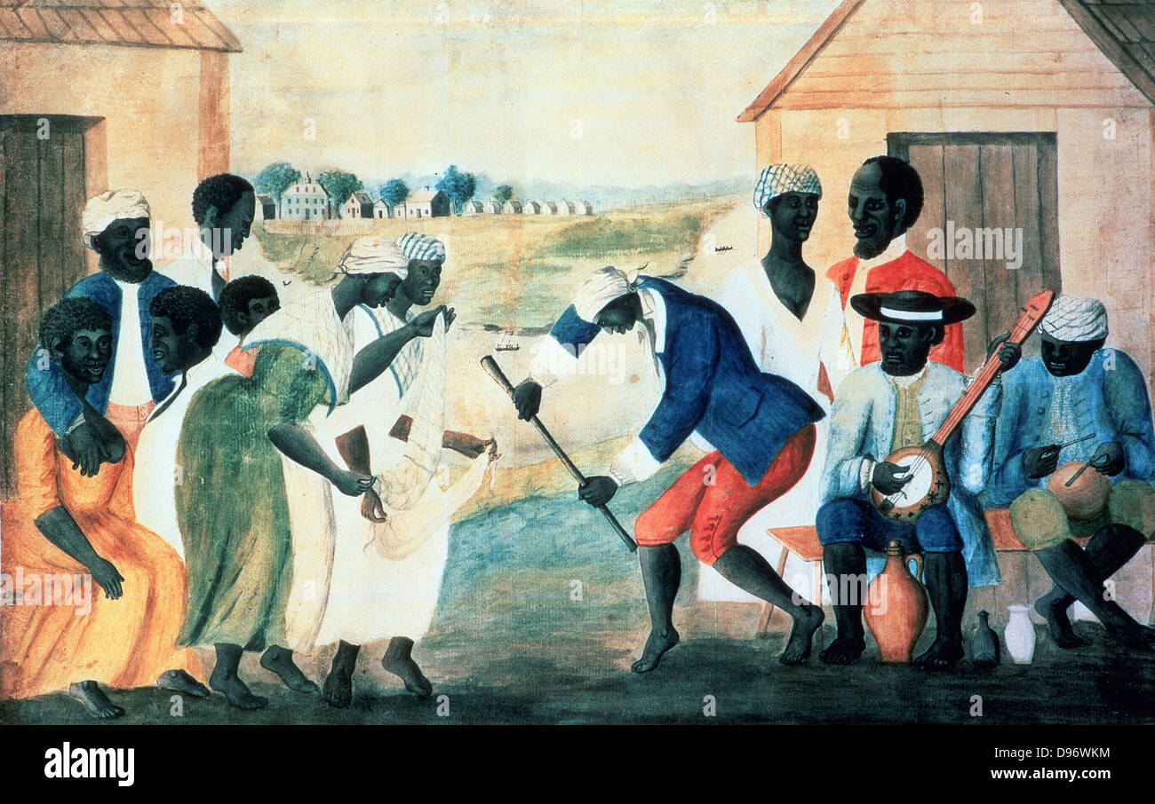 The Old Plantation 1800. Anonymous 19th century watercolour. - Stock Image
