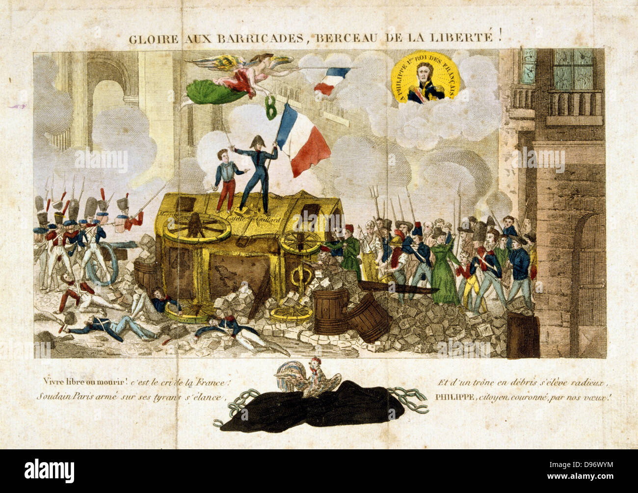 Revolution in France, 1830: Uprising in Paris 27, 28 and 30 July. 'Glory to  the Barricades, Cradle of Liberty!' Allegorical