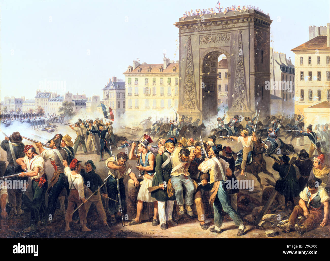 Battle for Porte Saint Denis 28 July 1830'. Revolution in France, 1830.  Hippolyte Le Comte (1781-1857) French painter. Oil on