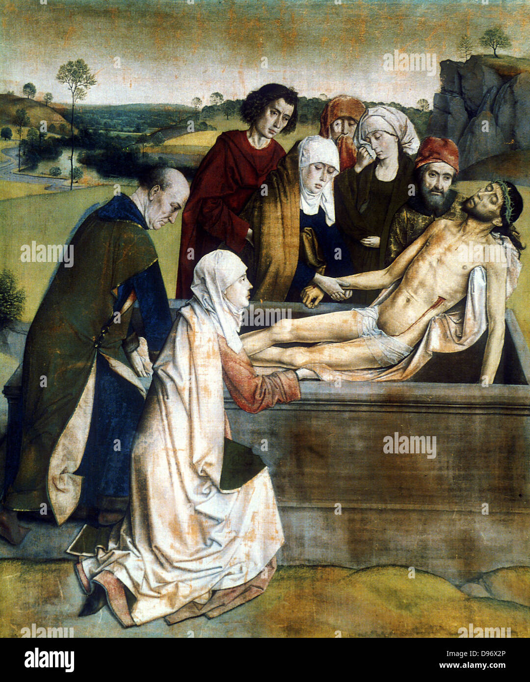 The Entombment'. Dierick or Dirk Bouts (c1415-1475) Dutch painter. - Stock Image