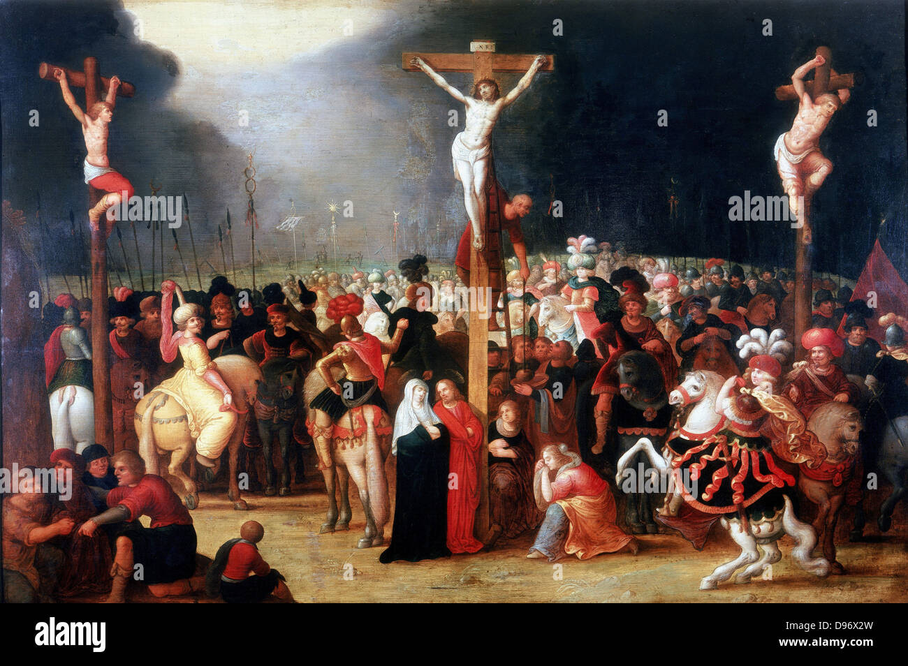 Christ on the Cross between the two Thieves', At foot of the cross the Virgin Mary with St John the Apostle, - Stock Image