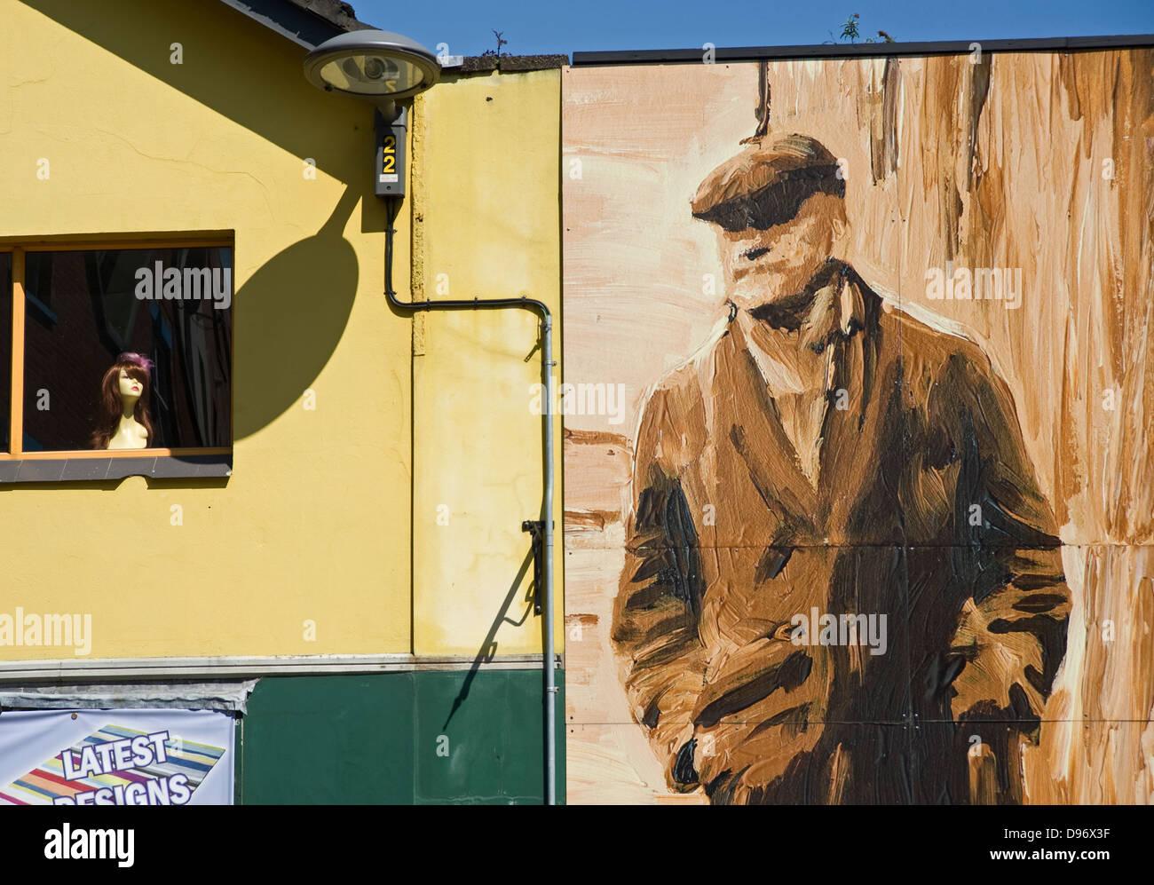 Mural on Castle Street, Belfast - Stock Image