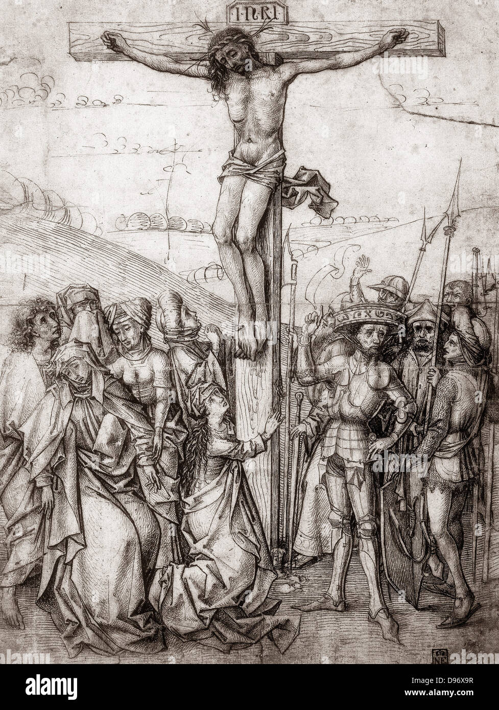Christ on the Cross. Master of Nuremberg, c1480. Pen and sepia ink. Drawing. - Stock Image