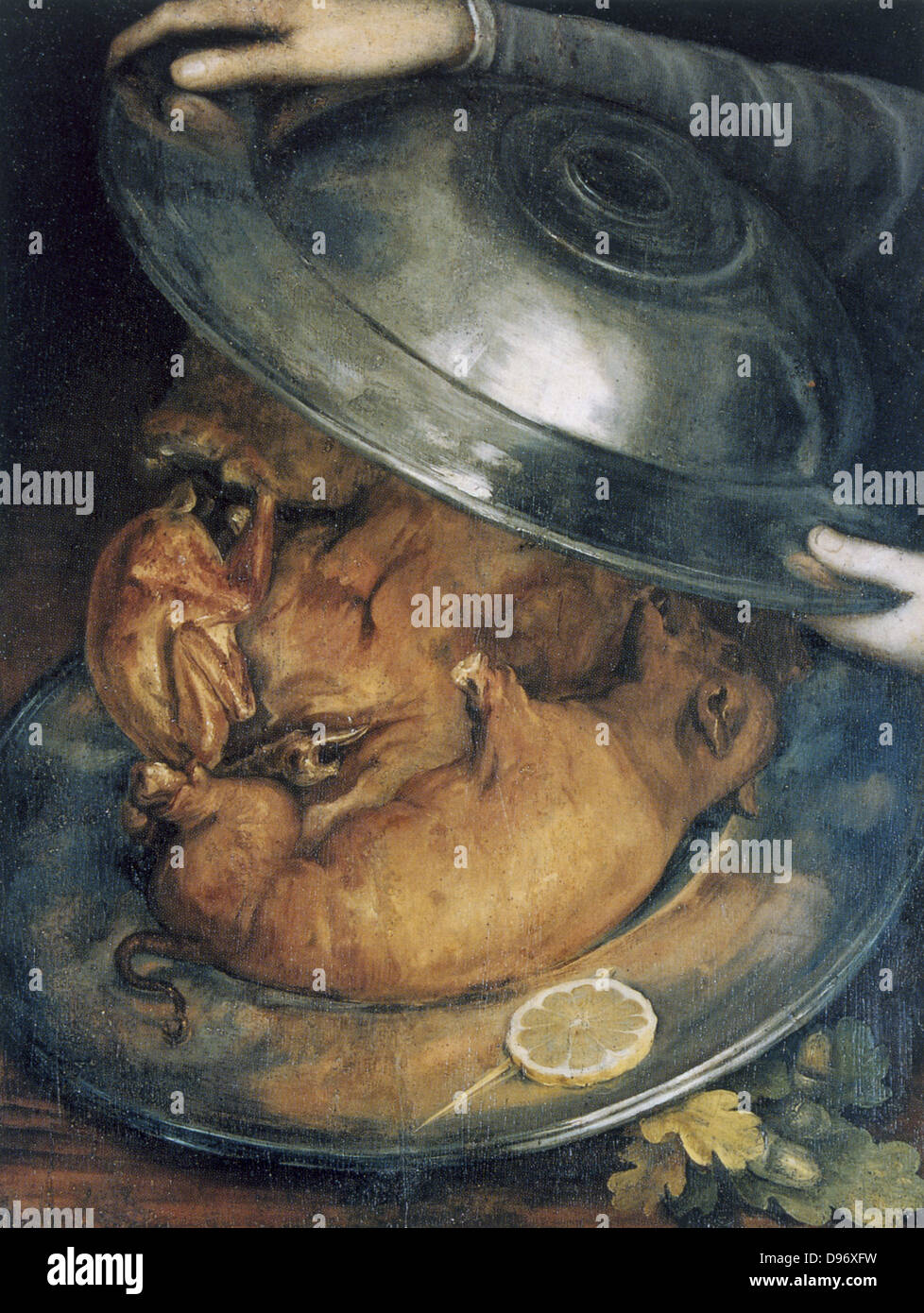 The Cook', still life c1570. If turned upside-down the cook's portrait is composed of two dishes and roast - Stock Image