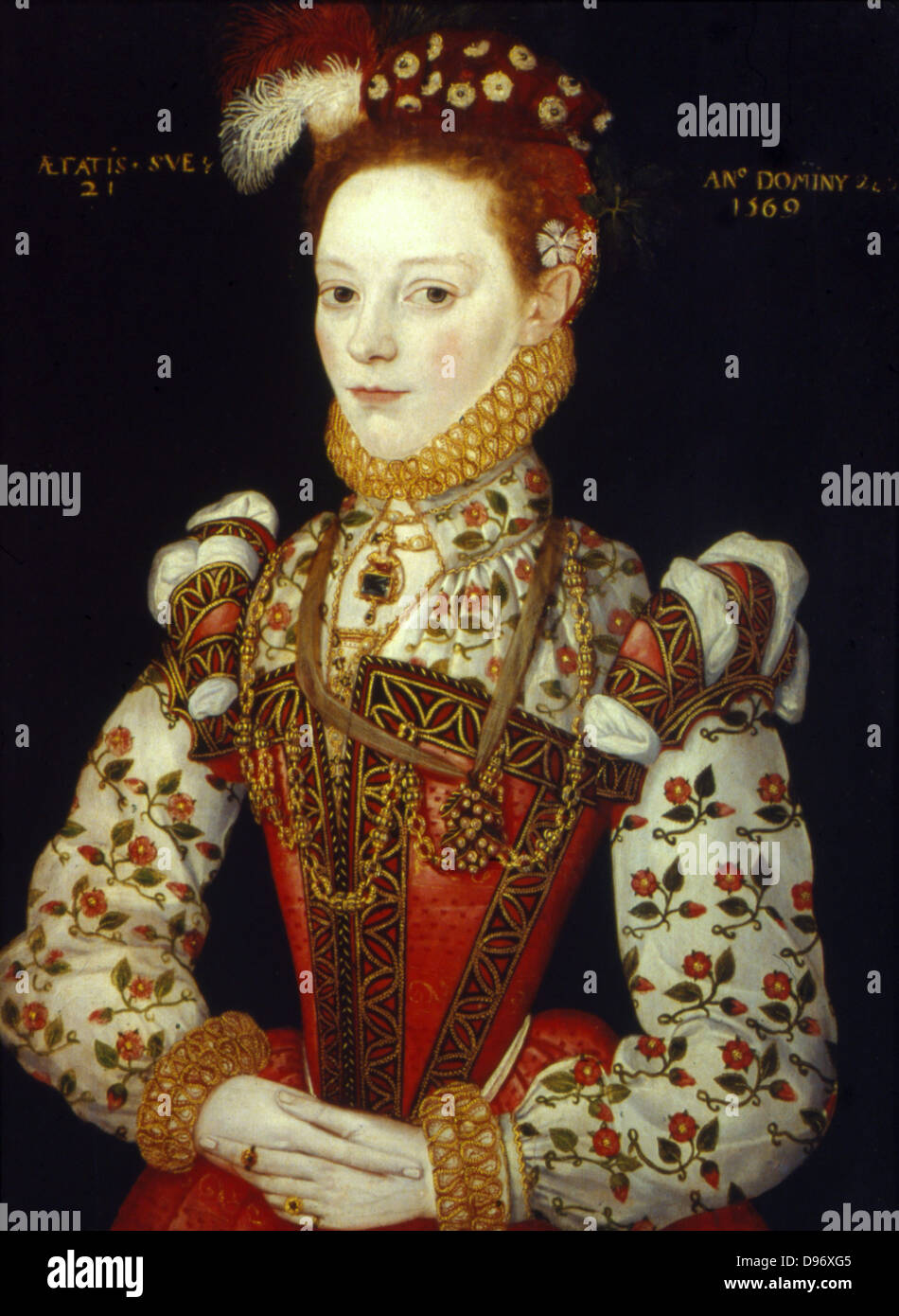 A Young Woman of 21, (1569). English School 16th century. - Stock Image