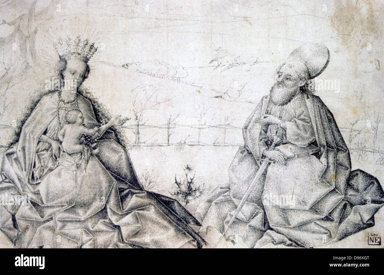 Virgin and Child with St Paul'. Swiss Master c1450. Pen, black ink and grey wash. - Stock Image