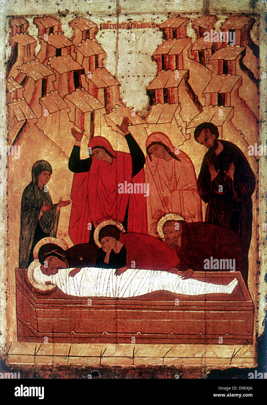 The Entombment: 15th century Russian icon. - Stock Image