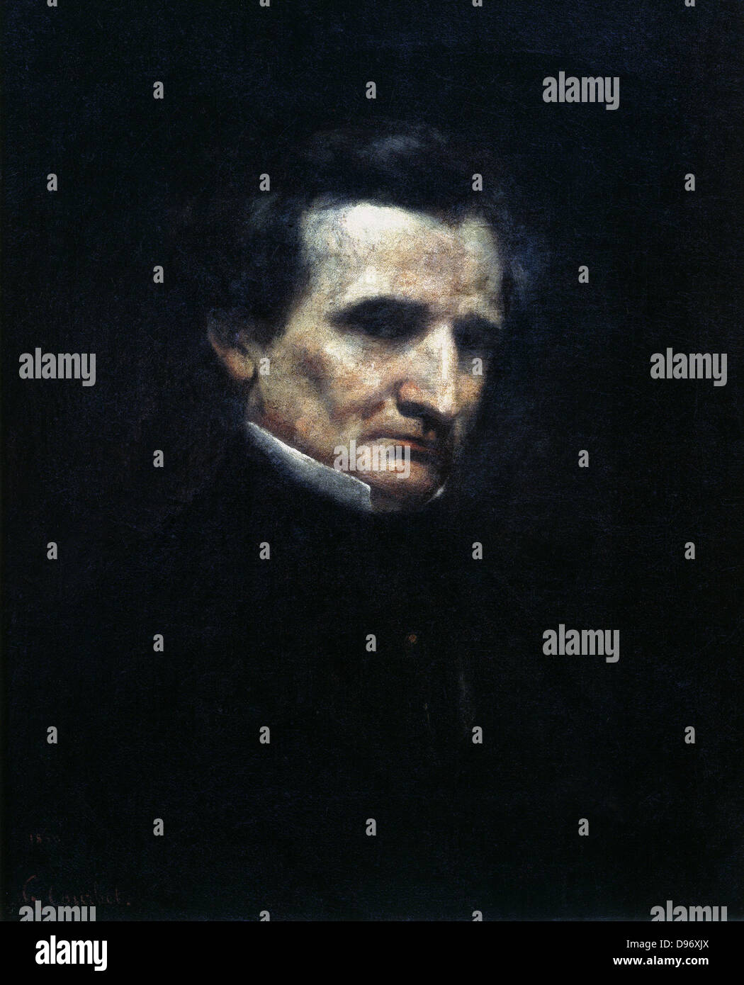 Hector Berlioz (1803-1869) French composer. Gustave Courbet (1819-1877) French painter. - Stock Image
