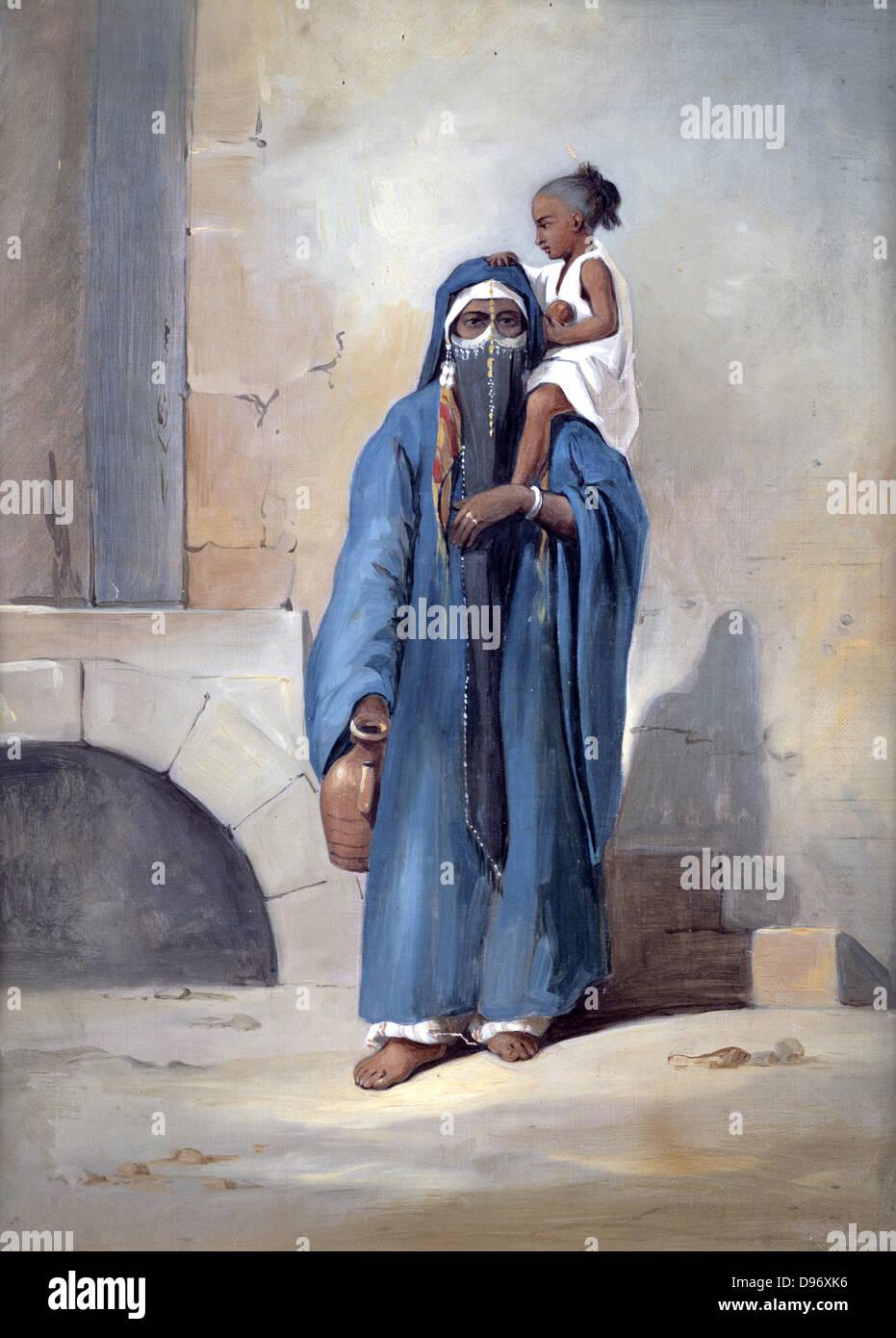 Veiled Egyptian Woman'. Emile Prisse d'Avennes. Gouache. Mid-19th century. - Stock Image