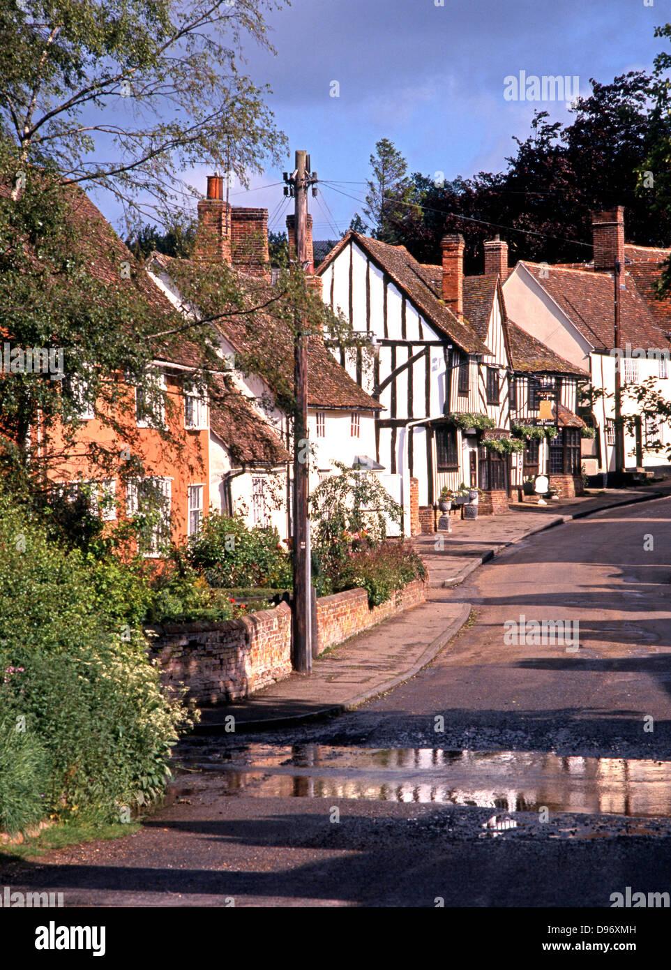 View up main village street, Kersey, Suffolk, England, UK, Western Europe. - Stock Image