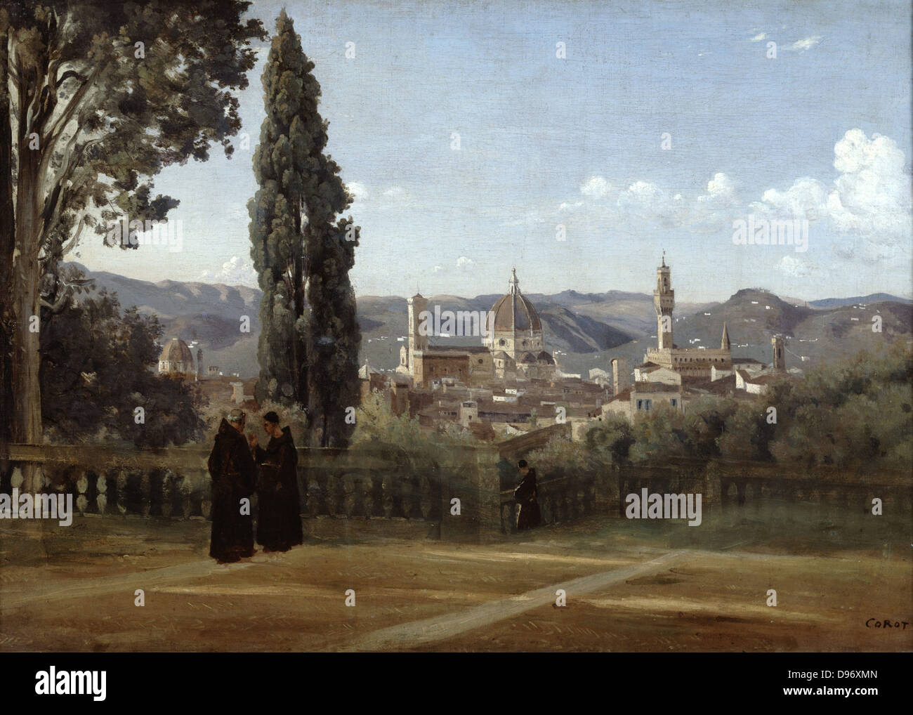 Florence. View from the Boboli Gardens' after 1834. Jean-Baptiste Camille Corot (1796-1875) French painter. - Stock Image