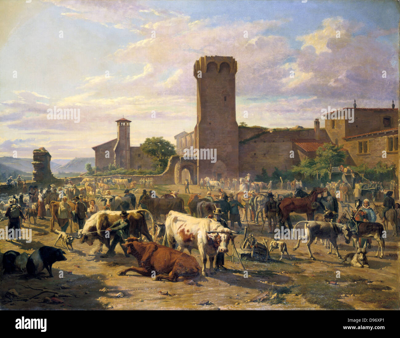 Cattle Market at Arbresie'. Louis Guy (1824-1888) French artist. Oil on Canvas. - Stock Image