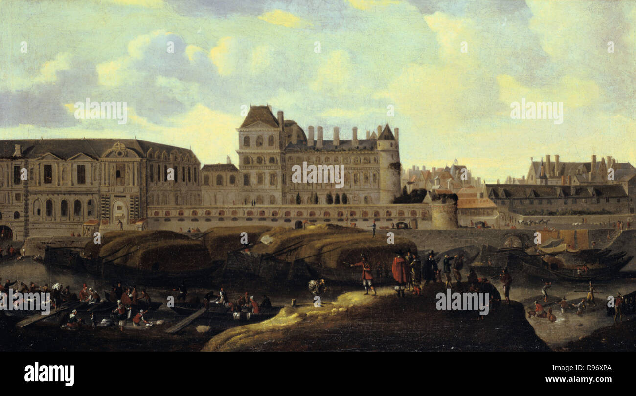 View of the Louvre Palace', Paris. Reinier Zeeman (c1623-c1668) Dutch painter and printmaker. Oil on Canvas. - Stock Image