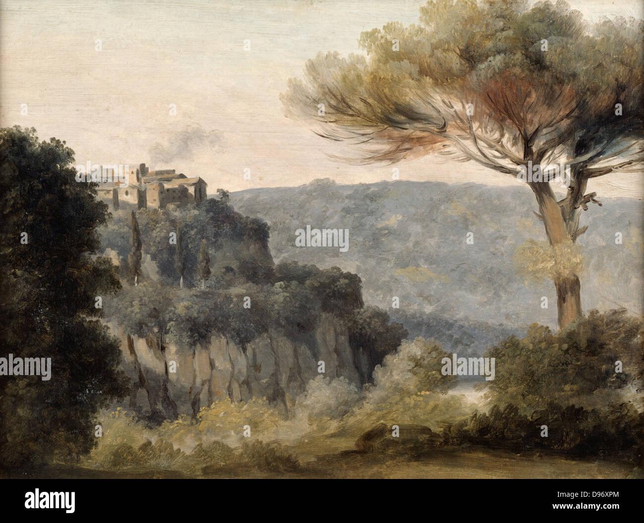 Village de Nemi': Pierre de Valenciennes (1750-1819) French painter. - Stock Image