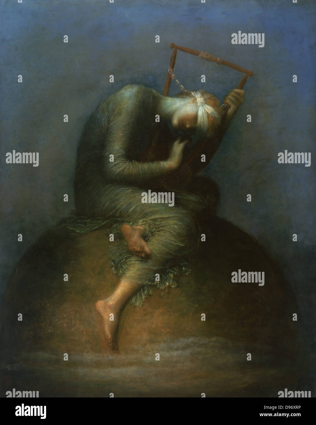 Hope': Blind hope sits on the top of the world plucking the strings of a lyre. George Frederick Watts (1817 - Stock Image