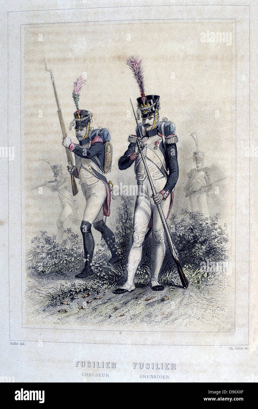 Riflemen of the Light Cavalry and the Grenadiers. From 'Napoleon 1er et la Garde Imperiale' by Eugene Fieffe, - Stock Image