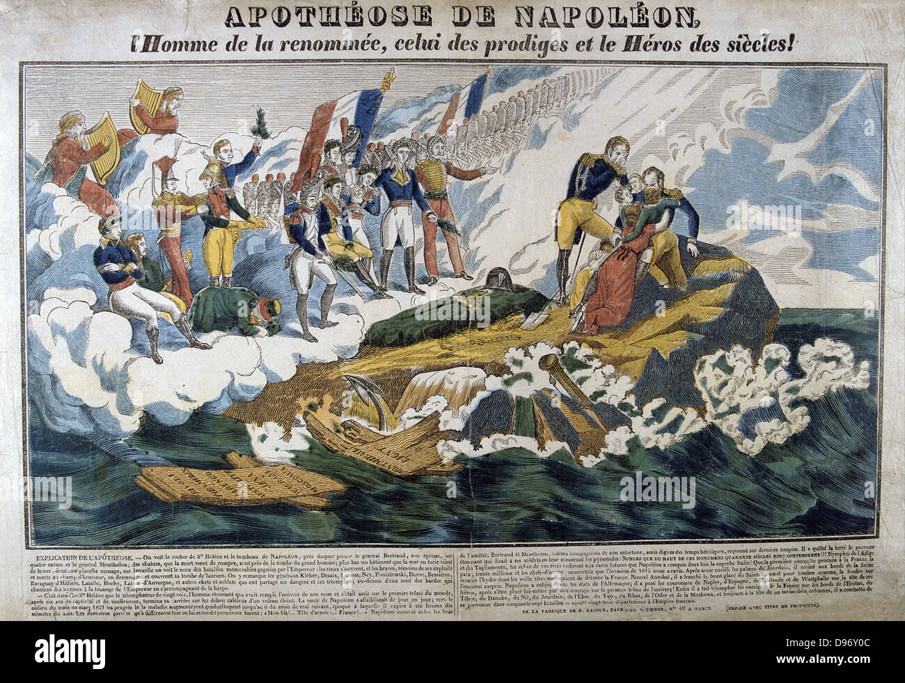 Allegorical print of the apotheosis of Napoleon I (1769-1821). Hand-coloured woodcut. - Stock Image