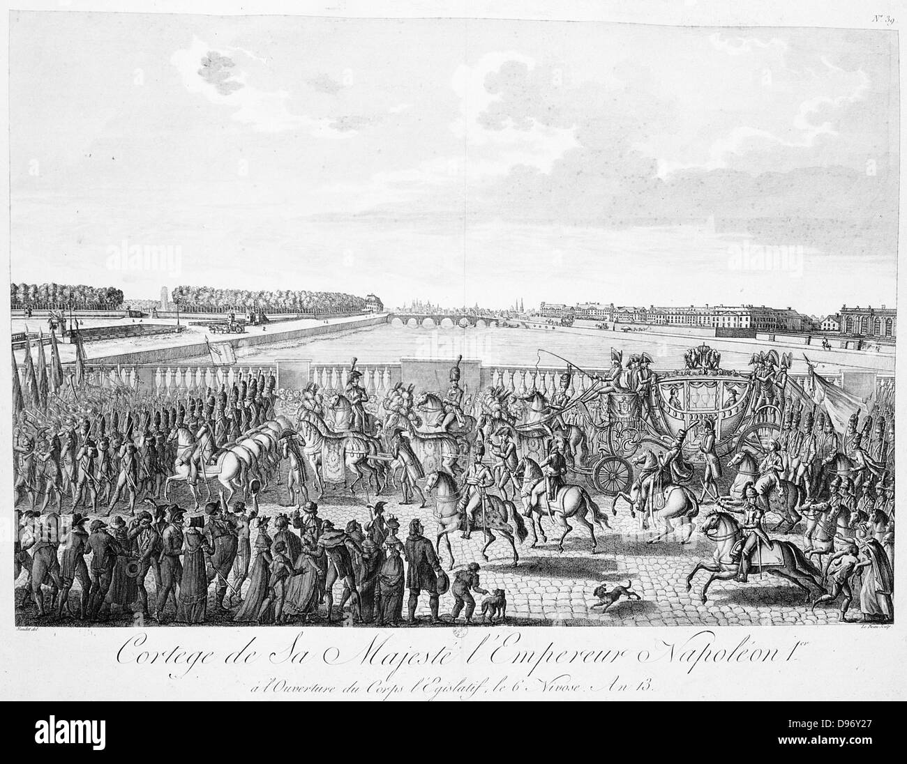 Carriage with horses carrying Napoleon I of France Circa 1807 - Stock Image