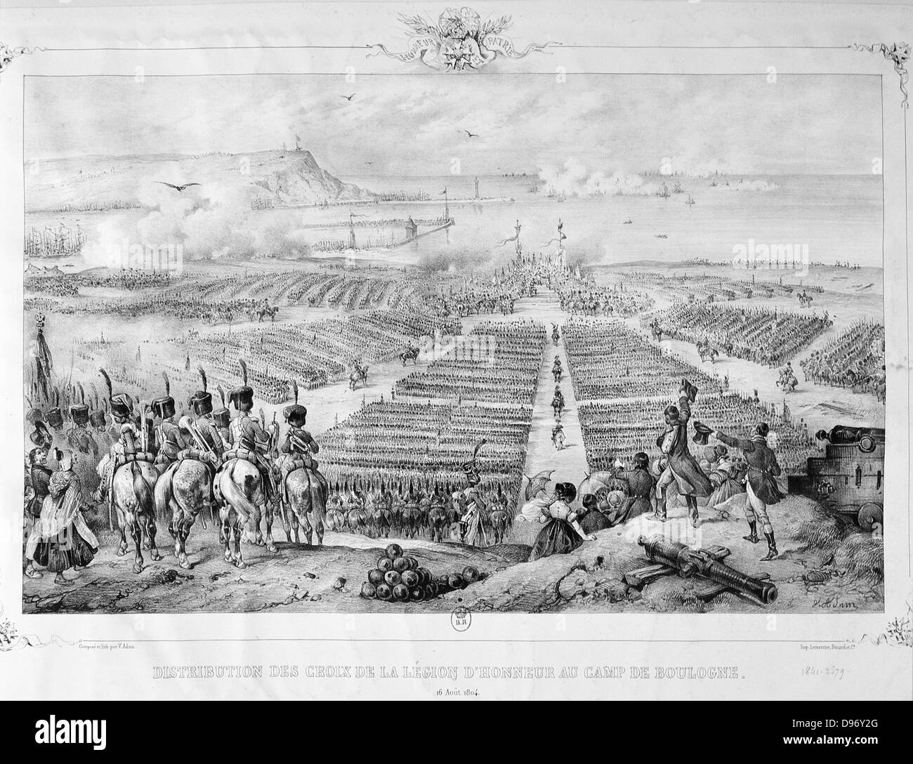 Distribution of the Cross of the Legion of Honour at Boulogne, 16 August 1804. Engraving. - Stock Image