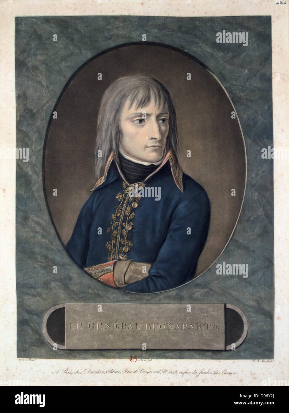 General Bonaparte (1769-1821). Aquatint published 1796. - Stock Image