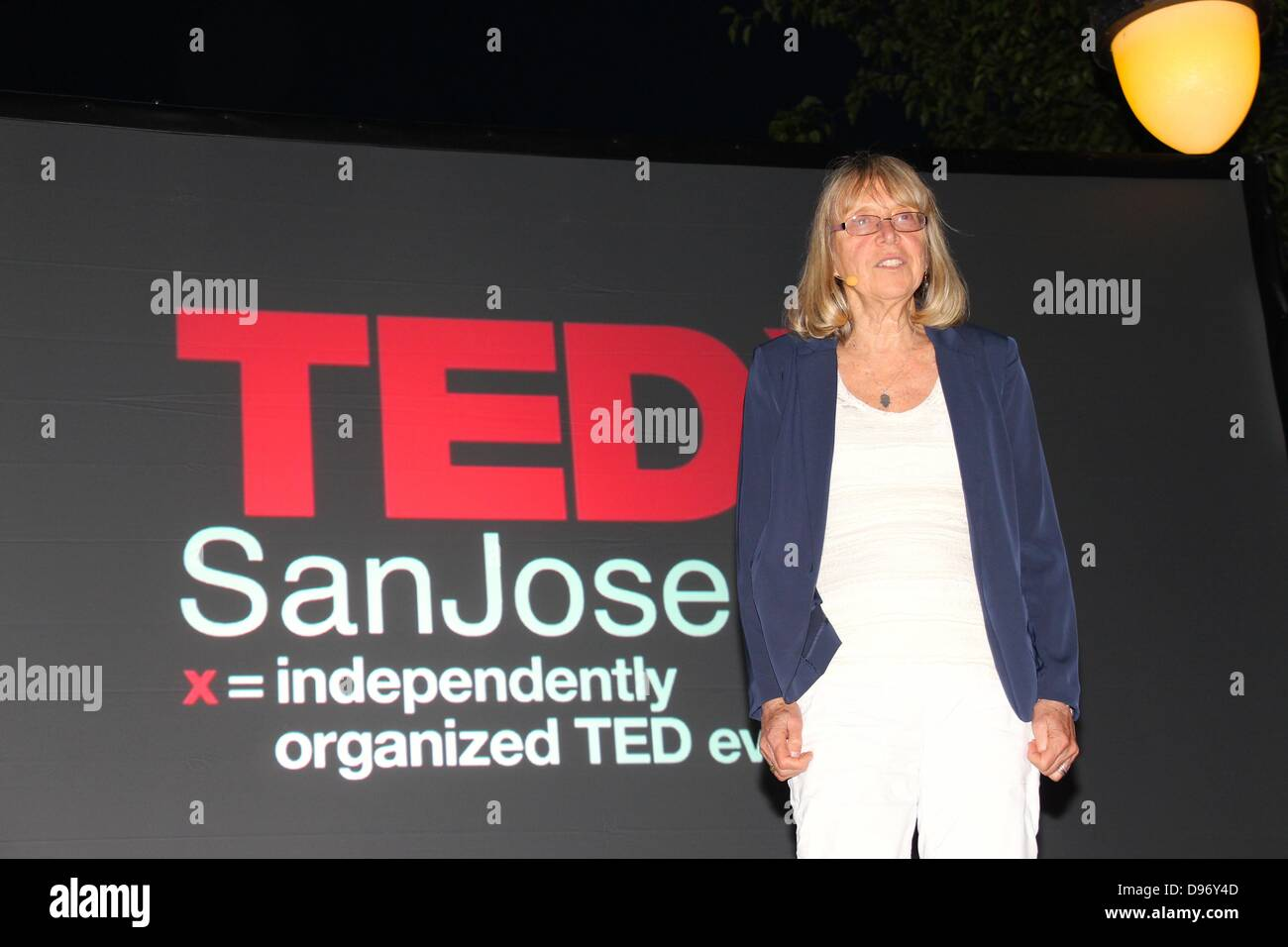 USA - San Jose, California 12th June 2013, The TEDx lecture series held in San Jose, California. Esther Wojcicki, - Stock Image