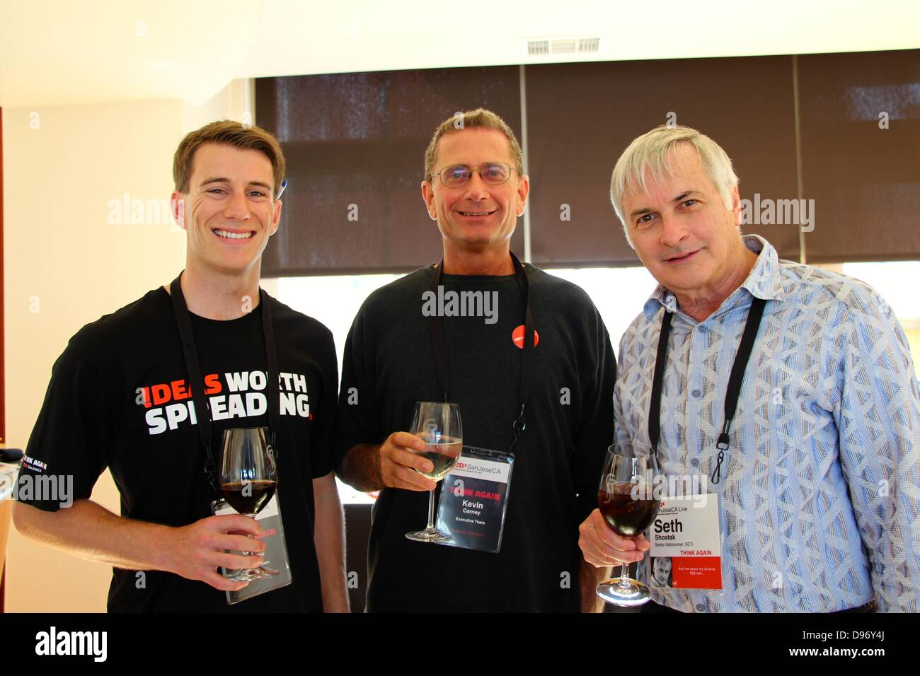 USA - San Jose, California 12th June 2013, The TEDx lecture series held in San Jose, California. From left to right: - Stock Image