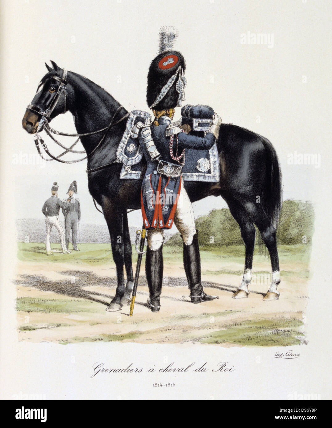 Royal Mounted Black Grenadier, 1814-1815. From 'Histoire de la maison militaire du Roi de 1814 a 1830' by Eugene Stock Photo