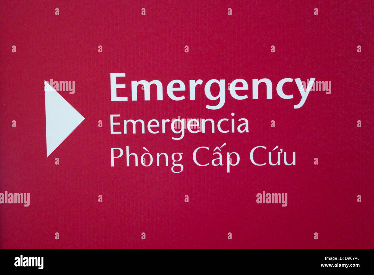 A multi-lingual Emergency sign in English, Spanish and Vietnamese. - Stock Image