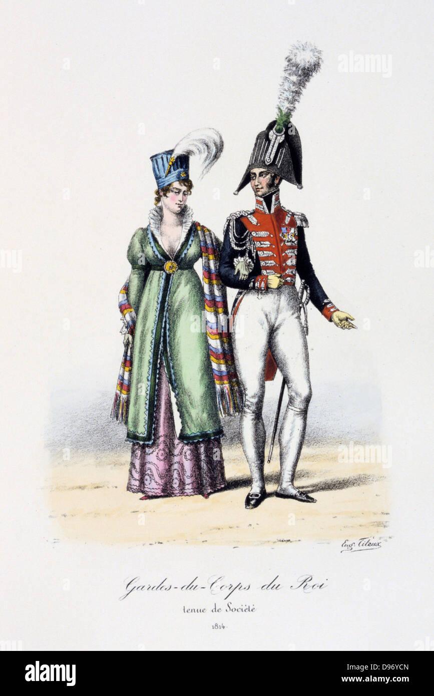 Officer the Royal Guard in dress uniform, with a lady, 1814. From 'Histoire de la maison militaire du Roi de - Stock Image