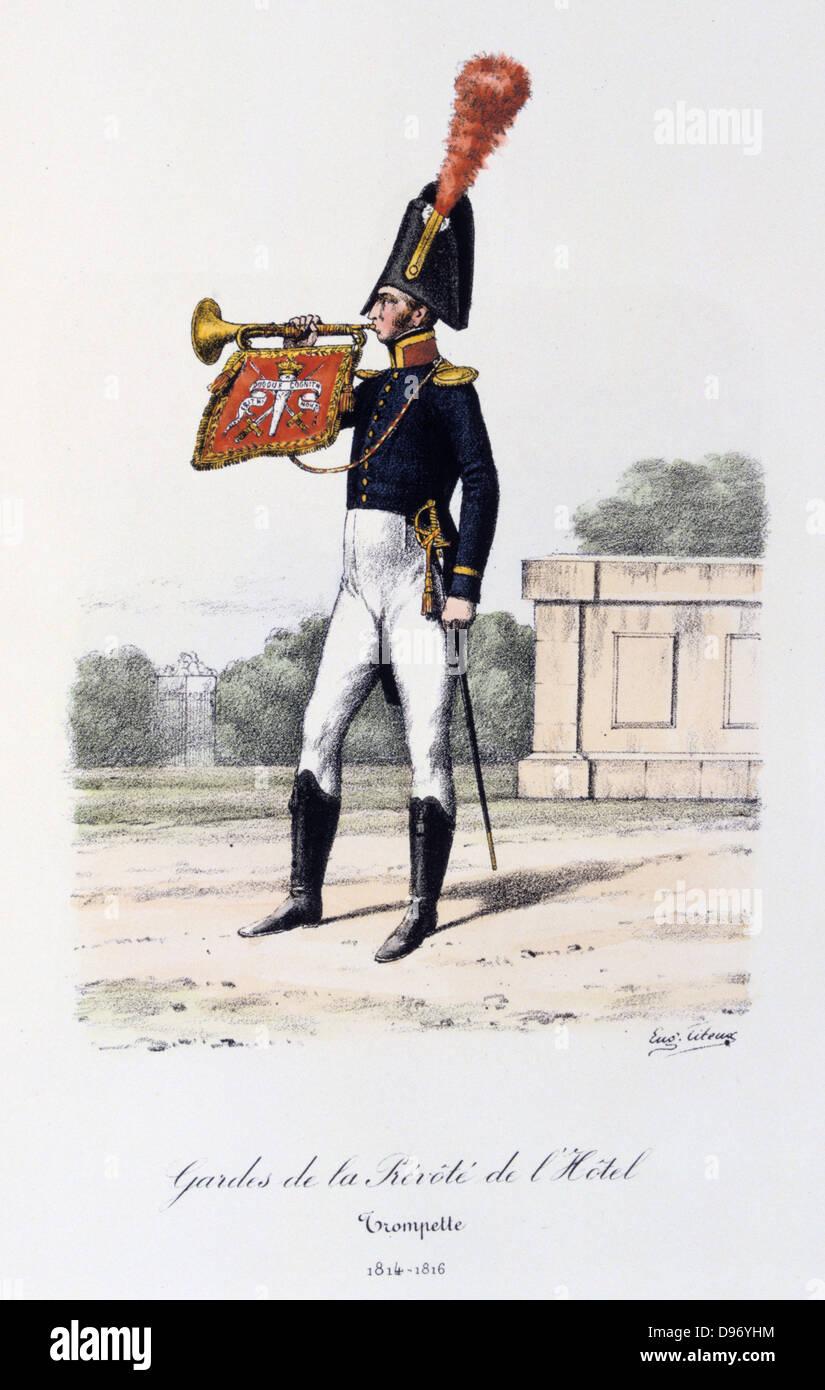 Trumpeter, 1814-1816. 'Histoire de la maison militaire du Roi de 1814 a 1830' by Eugene Titeux, Paris, 1890. Stock Photo