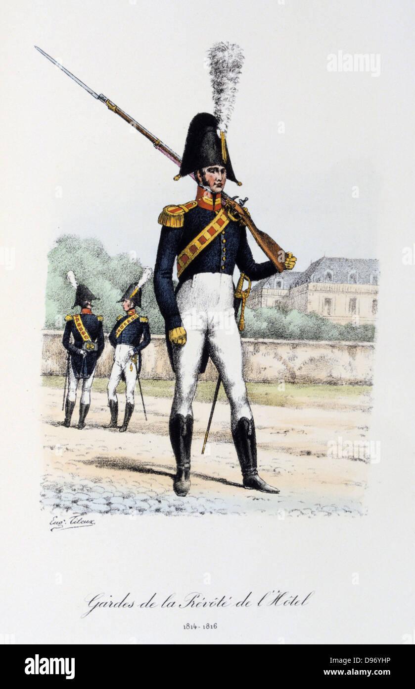 Rifleman, 1814-1816. 'Histoire de la maison militaire du Roi de 1814 a 1830' by Eugene Titeux, Paris, 1890. Stock Photo