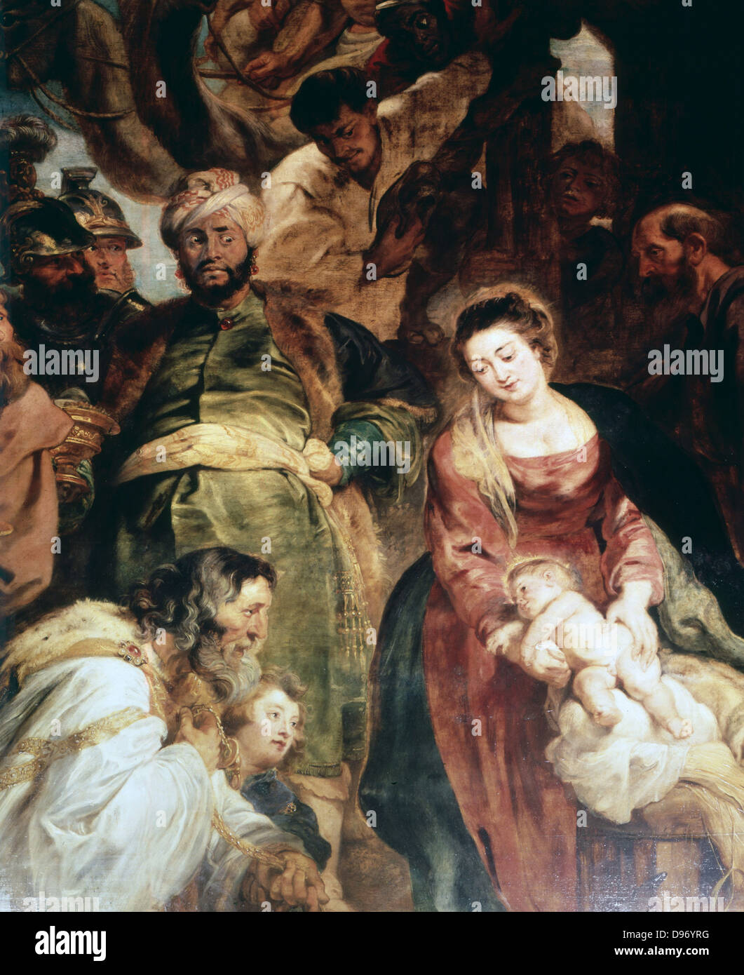 Adoration of the Kings', 1624: Peter Paul Rubens (1577-1640) Flemish painter. Oil on wood. - Stock Image
