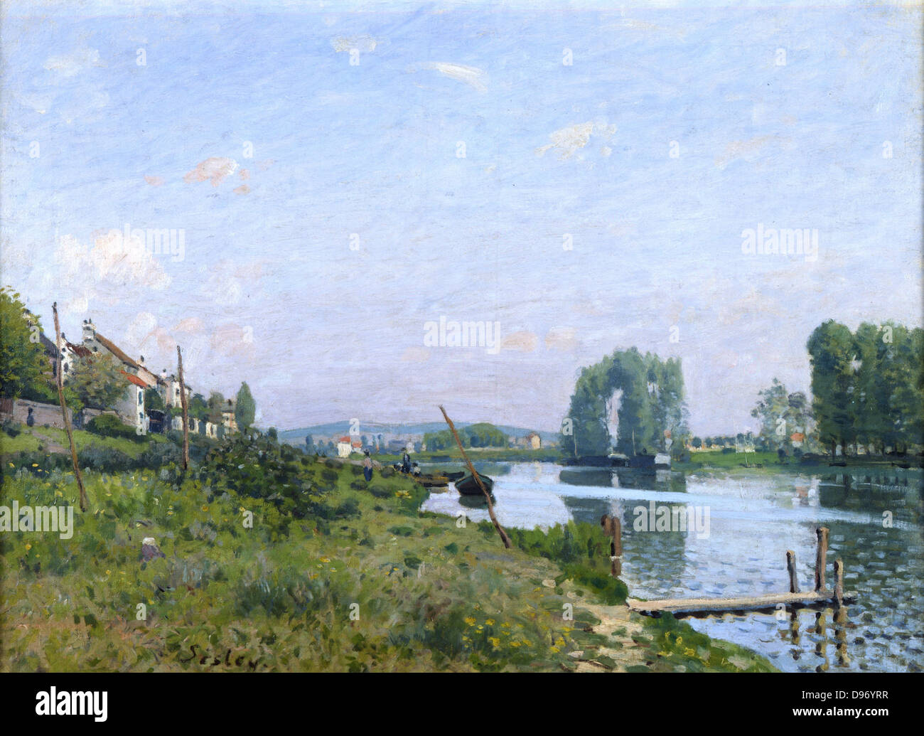 L'Ile St Denis' 1872: Alfred Sisley (1839-1899) French painter. Oil on canvas. - Stock Image