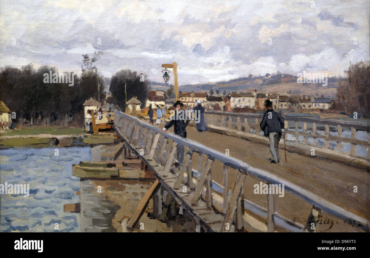 The Bridge at Argenteuil' 1872: Alfred Sisley (1839-1899) French painter. Oil on canvas. - Stock Image