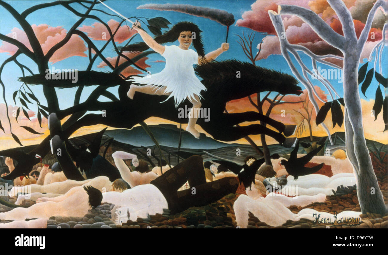 War, or Discord on Horseback: 1894: Henri Rousseau (Le Douanier) 1844-1910, French Primitive painter . Oil on canvas. - Stock Image