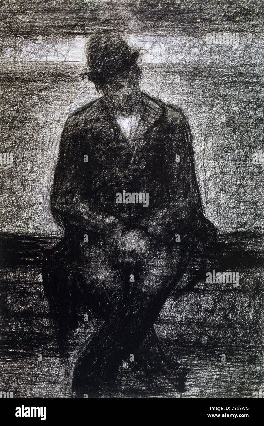 Vagabond': Georges Pierre Seurat (1859-1891) French artist. Conte crayon. - Stock Image