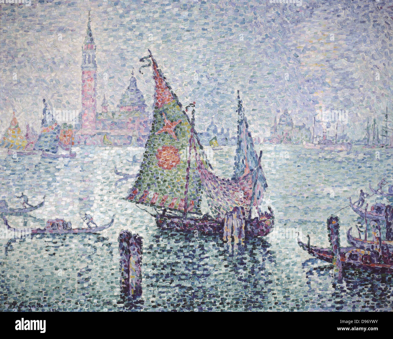 Venice; the Green Sail' 1804. Paul Signac (1863-1935) French painter. Oil on canvas. Stock Photo