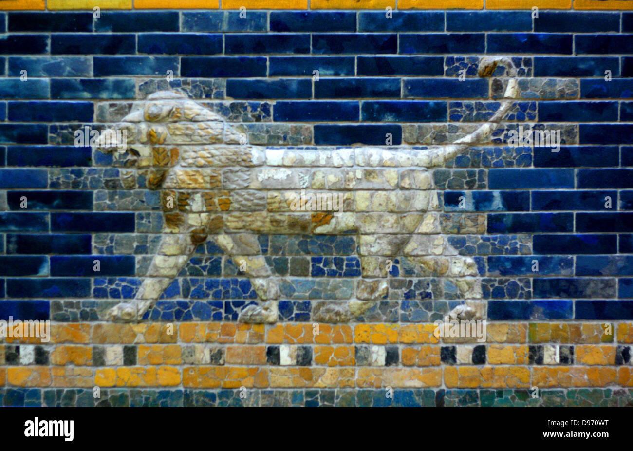 Ishtar Gates, Babylon plus details showing palms, lions and animals. Stock Photo