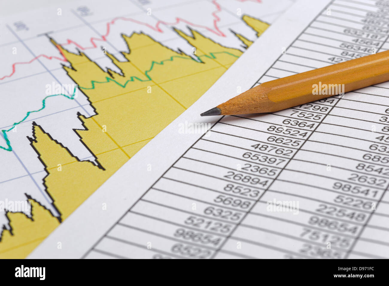 finance business calculation with pencil on chart Stock Photo