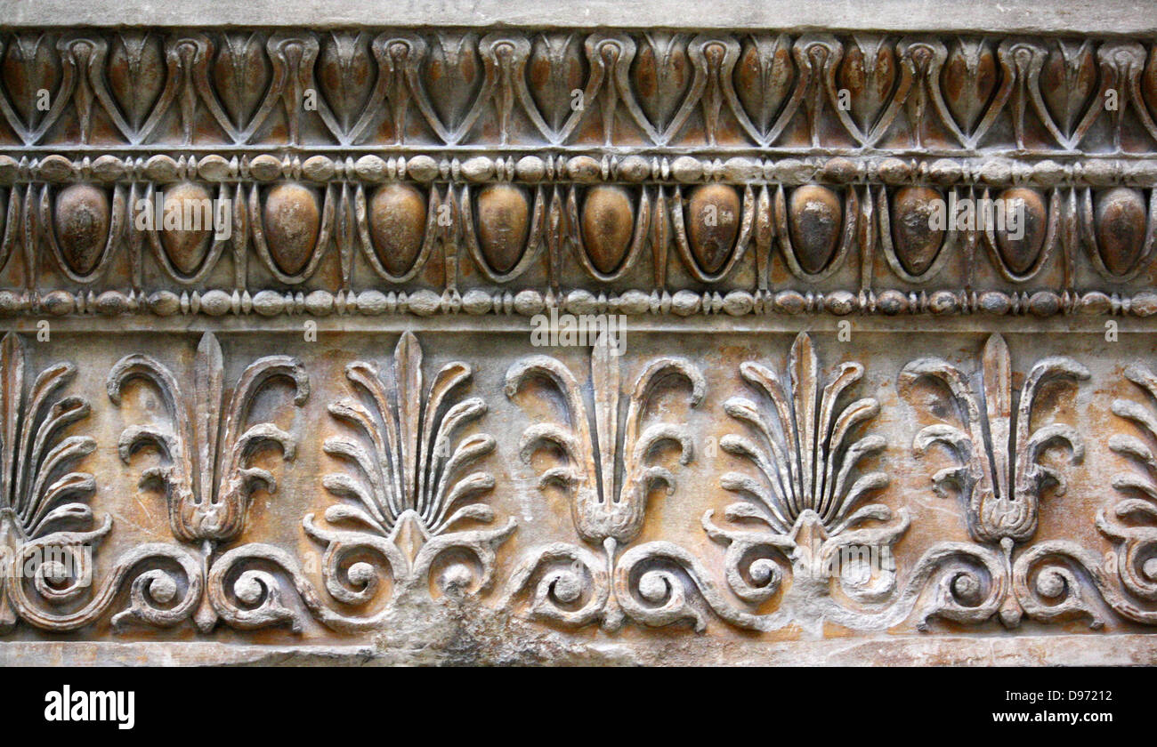 Two marble slabs from the ornamental band (epicranitis) running round the top of the outside walls of the Erechtheum - Stock Image