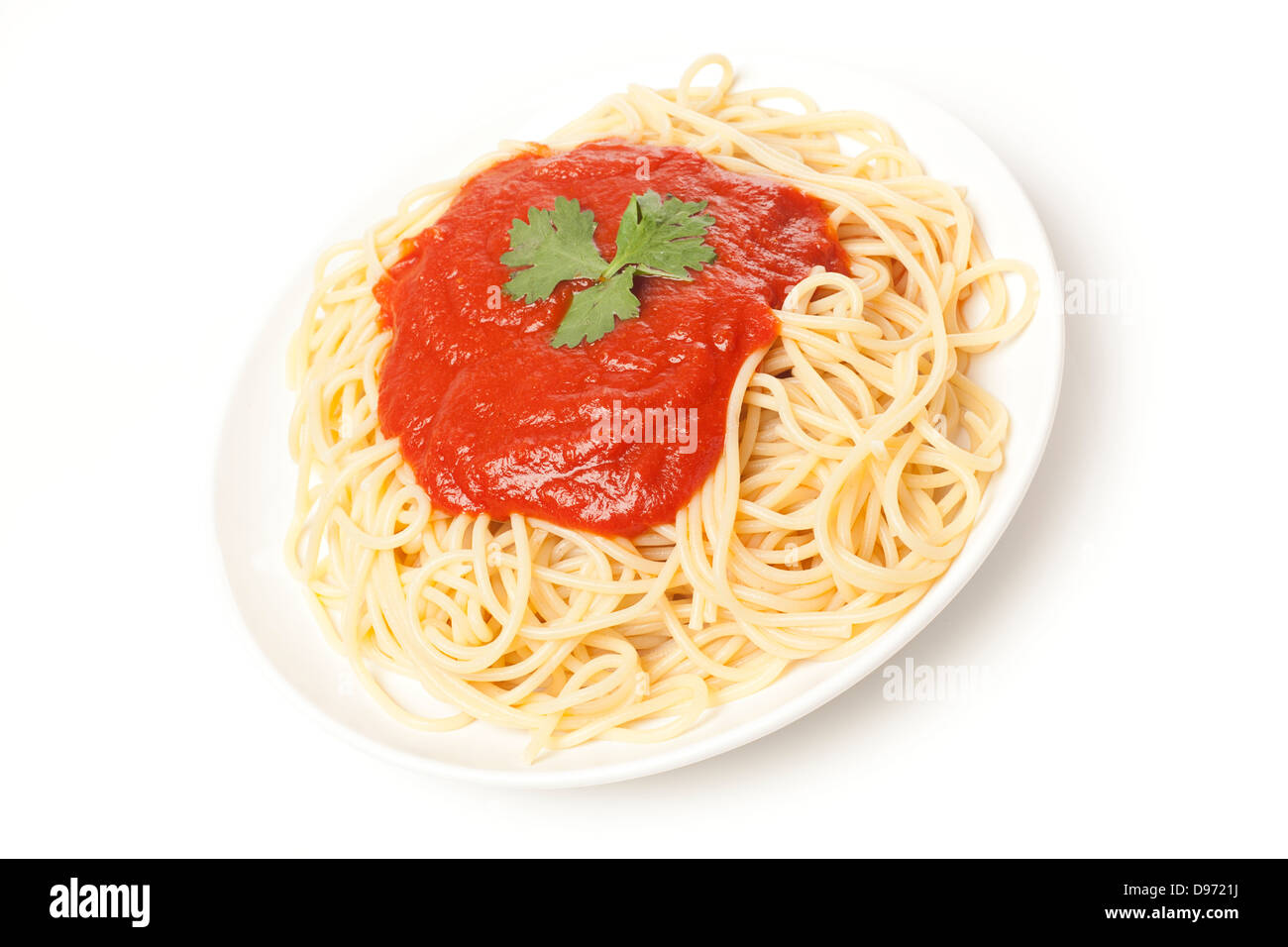 Organic Whole Grain Pasta with tomato sauce - Stock Image