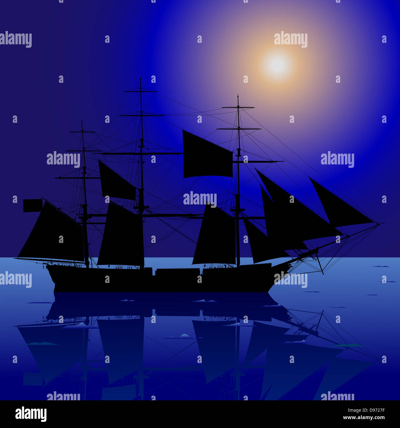 Sailing Ship In The Night Sea