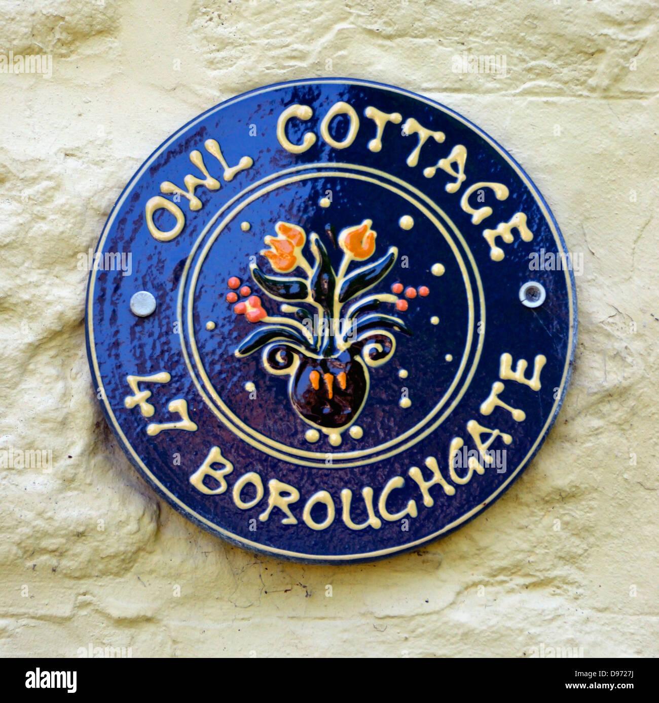 'Owl Cottage', house nameplate. 47  Boroughgate, Appleby-in Westmorland, Cumbria, England, United Kingdom, - Stock Image