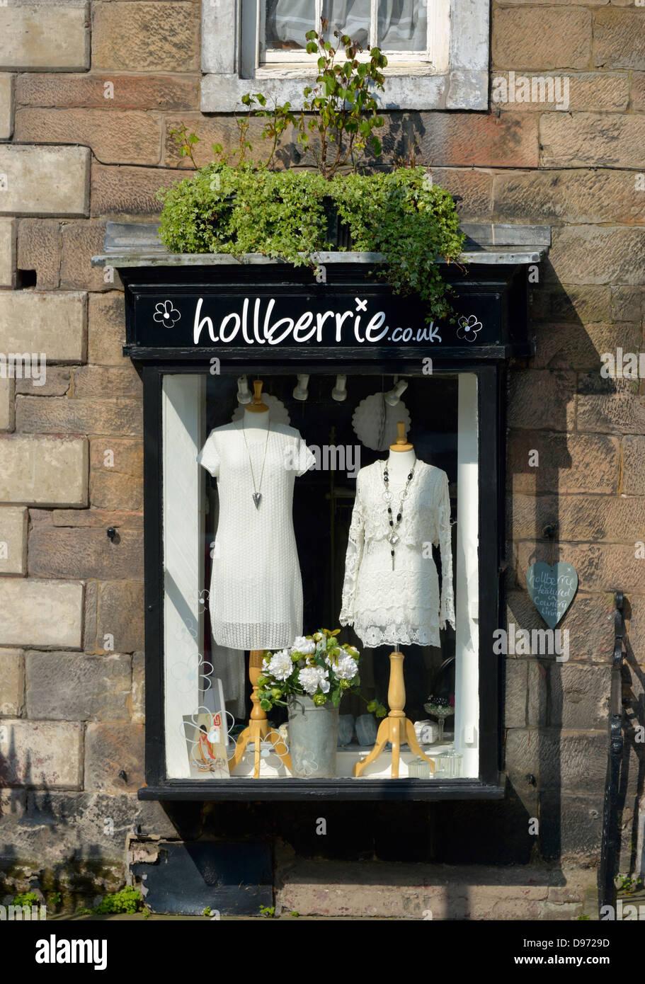 'Hollberrie', dress shop window. Boroughgate, Appleby-in Westmorland, Cumbria, England, United Kingdom, - Stock Image