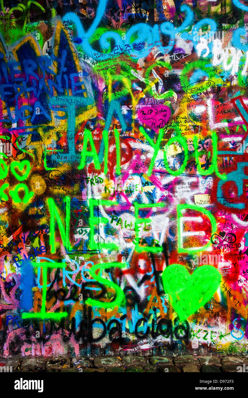 Graffiti on part of the John Lennon Wall in Prague, Praha, Czech Republic,Česká Republika,Europe - Stock Image