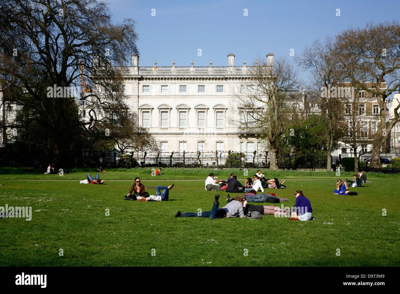 View through Green Park to Bridgewater House, St James's, London, UK - Stock Image